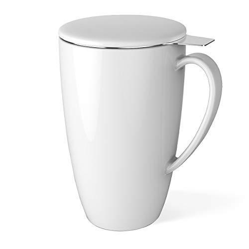 n Tea Mug with Infuser and Lid, 15 OZ, White ()