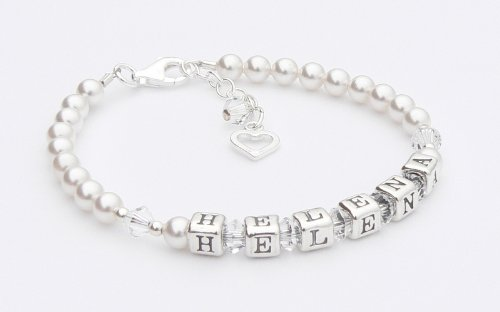 Christening Bracelet - Silver Name Bracelet - Personalised Box - Crystal Birthstone Crystal - Christening Gifts Charms and Occasions Ltd OE-CB-0236-Crystal