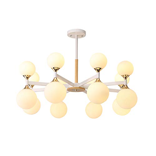 H.JPT Glass Chandelier, Wrought Iron Pendant Lights Modern Wood Ceiling Lamp Bedroom Living Room Dining Room Cafe Decoration Lamps, 110-220v, 16 Head