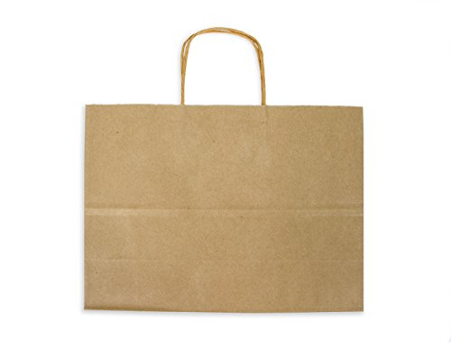 12CT WIDE-LARGE BROWN BIODEGRADABLE, FOOD SAFE INK & PAPER, PREMIUM QUALITY PAPER (STURDY & THICKER), KRAFT BAG WITH COLORED STURDY HANDLEs (Wide-Large, Brown)