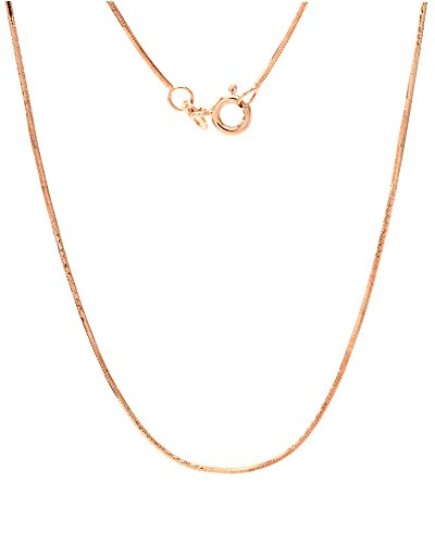 wishrocks 14K Rose Gold Plated Sterling Silver Italian 0.8 mm Snake Chain - 18