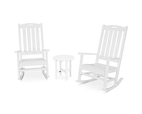 POLYWOOD Nautical Rocking Chair Set, White ()