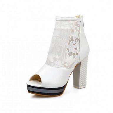 Las mujeres sandalias de verano caen comodidad ligera suela exterior de piel sintética PU Oficina &parte de carrera&Vestido de Noche Casual talón plano Borla White