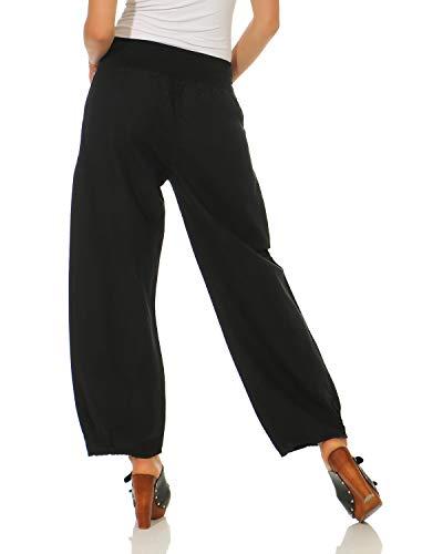 pantaloni casual di lino semplici Nero ZARMEXX da pantaloni donna RxzwnUnq