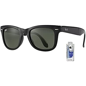 390edd98268a3 Ray Ban RB4105 601 50mm Black Crystal Green Folding Wayfarer Bundle-2 Items