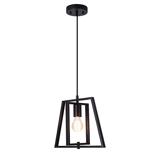 (Smellbt Modern Industrial Pendant Light in Welding Finish with Matte Black Shade, Adjustable Trapezoidal Pendant Lighting for Kitchen Island, Dining Rooms, Living Room, Bar)