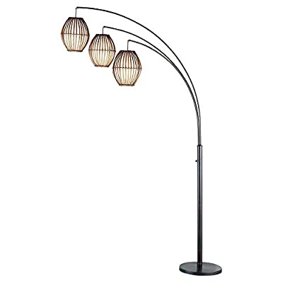 Adesso Maui 4026 Arc Lamp - Antique Bronze - Dimensions: 12.5W x 45D x 77H in. Slender appealing floor lamp adds visual appeal Metal body finished in black nickel - living-room-decor, living-room, floor-lamps - 31WbDRtWERL. SS400  -