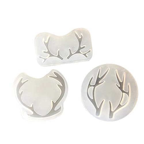 (3PCS Multi Antlers DIY Crystal Jewelry Casting Molds Silicone Resin Jewelry Molds Craft Molds for Pendant Key Chain Gem)