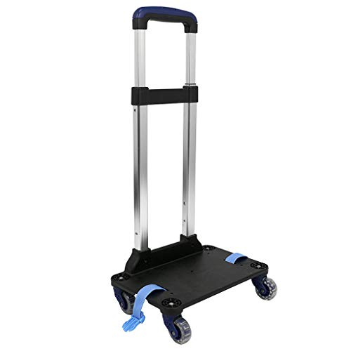 Kids Wheeled Trolley, Backpack Trolley Luggage Cart Detachable 360 Rolling wheels Students School Bag Hand Carts Aluminum Trolley with Buckles Straps(4 Wheels Navy blue)