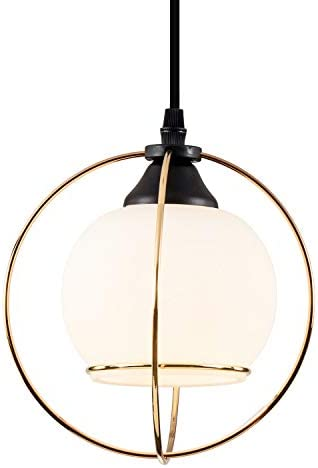 SOZOMO Industrial Modern Style 1-Light Pendant Mini Glass Shade with Cross Glod Metal Wire Pendant Light for Kitchen Island Bars Bedroom, Living Room, Dining Room Hotel Dining Room Light