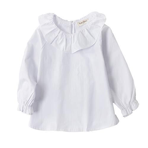 (VIYOO Little Girls Long Sleeve T Shirts Blouse Cotton Lotus Leaf Collar, White, 6-7 Years/Height 50'-52')