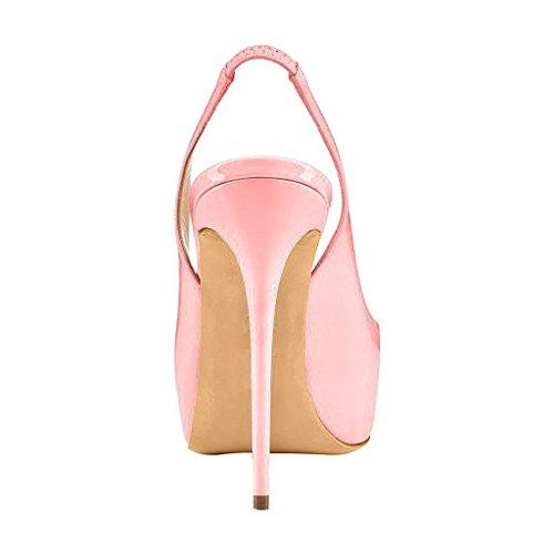 Fsj Vrouwen Kleurrijke Kleding Sandalen Slingback Peep Toe Hoge Hakken Pompen Met Platform Grootte 4-15 Ons Lichtroze