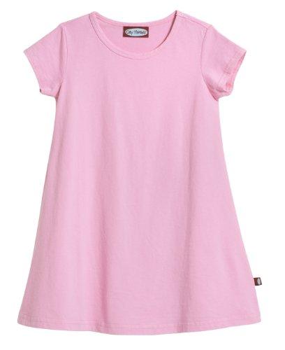 City Threads Little Girls' Cotton Short Sleeve Cover Up Dress for Sensitive Skin SPD Sensory Friendly, Bright lt. Pink, 6