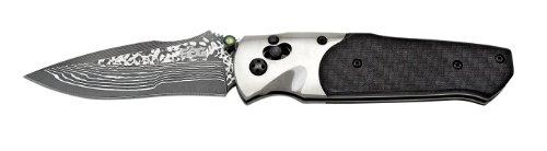 SOG Arcitech Folding Knife A03-P - Polished Damascus, Carbon Fiber Handle, 3.5'' Blade, Arc-Lock by SOG