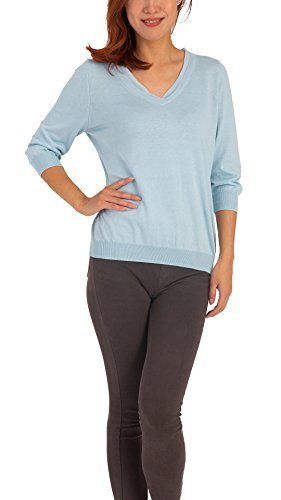 Women's Silk Knit V-Neck Sweater – Ultra-Soft Regular Fit Pullover with 3/4 Sleeves