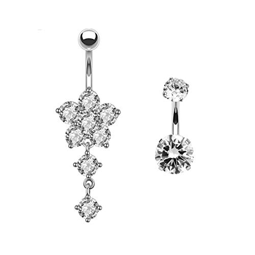 YHMM 14G Dangle Belly Button Rings for Women Girls,316L Stainless Steel Flower Navel Rings Curved Barbell Body Piercing (Flower/Silver-Tone) ()