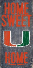 Miami Hurricanes Wood Sign - Home Sweet Home 6x12 (Sign Hurricanes Miami)