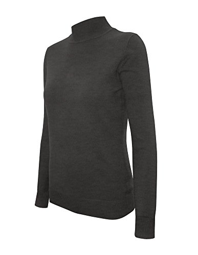 Cielo Women's Solid Basic Stretch Mock Neck Pullover Knit Sweater Charcoal Grey S - Knit Mock Neck Pullover
