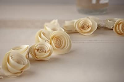 Ginger Ray Vintage Affair Paper Flower Garland Wedding Party Decoration, Ivory
