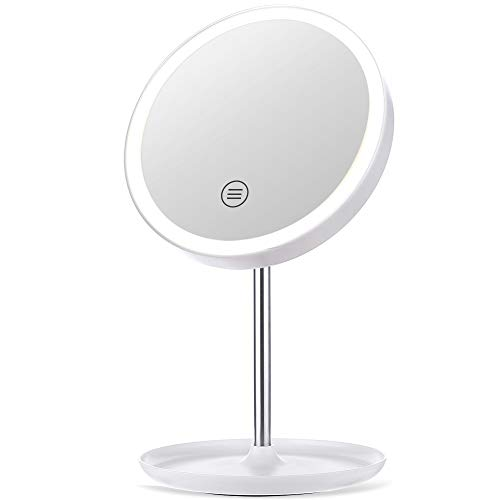 GLIME Makeup Mirror Rechargeable Cordless Vanity Makeup Mirror with 3 Color Modes Touch Controls 1X/5X Magnifying and 45 High-brightness LEDs Dimmable Natural Light Countertop Cosmetic Mirror