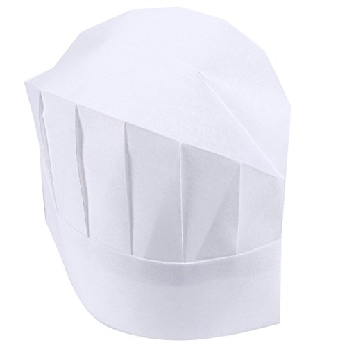 Chef Hats – 24-Pack Disposable White Paper Chef Toques, Chef Supplies, Adjustable Professional Kitchen Chef Caps for Baking, Culinary Hygiene, Cooking Safety, 20-22 Inches in Circumference by Juvale (Image #1)