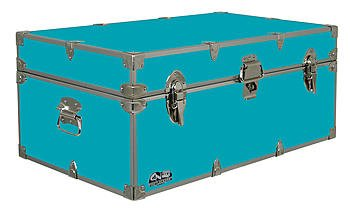 C&N Footlockers Happy Camper Storage Trunk - Summer Camp Chest - Durable with Lid Stay - 32 x 18 x 13.5 Inches (Teal) (Chest Trunk Storage)