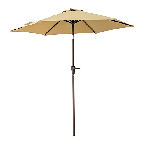 (C-Hopetree 7.5 ft Patio Outdoor Market Umbrella for Small Balcony Garden Restaurant Café Back-Yard with Tilting, Beige)