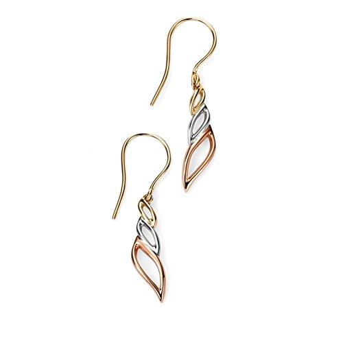 Elements 9ct or Boucles d'oreilles pendantes 3couleur de