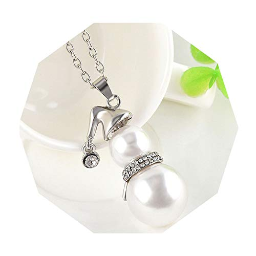 1pc Fashion Snowman Pendant Women Jewelry Pearl Crystal Necklace Christmas Gift Faux Pearl Accessories,Silver