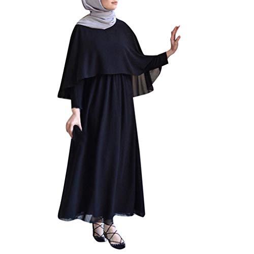 Casual Vjgoal Moda Larga Mujer Largo Verano Manga Musulmán Kaftan Árabe Jilbab Vintage Vestido Negro Dubai Túnica Manto Color Islámica Sólido Abaya qtrtEzAw