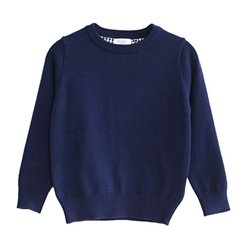 CUNYI Little Boys Crewneck Pullover Cotton Knit Sweater, Navy Blue, 10-11 Years/ 150