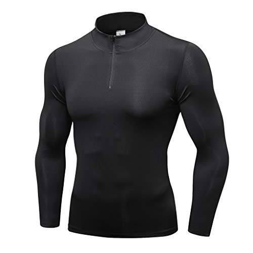 Men's 1/4 Zip Pullover Thermal Running T-Shirts Long Sleeve Fusion Pro Quickdry Long Sleeve Athletic Compression Sport Shirt (Black, L)