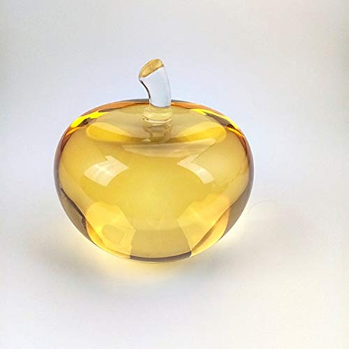 ZAMTAC 7075mm 1pcs Topaz Color Crystal Smooth Apple Green Paperweight Glass Pretty Gift Crafts for Wedding Art&Collection Treasure - (Color: Topaz, Size: 70mm)