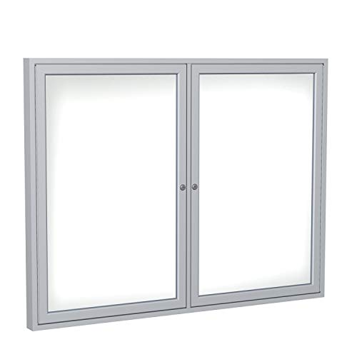 - 2 Door Enclosed Magnetic Whiteboard Size: 3' H x 4' W, Frame Finish: Satin