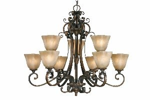 Golden Lighting 3890-9 GB Meridian Two Tier Chandelier, Golden Bronze Finish Old Bronze Finish Chandeliers
