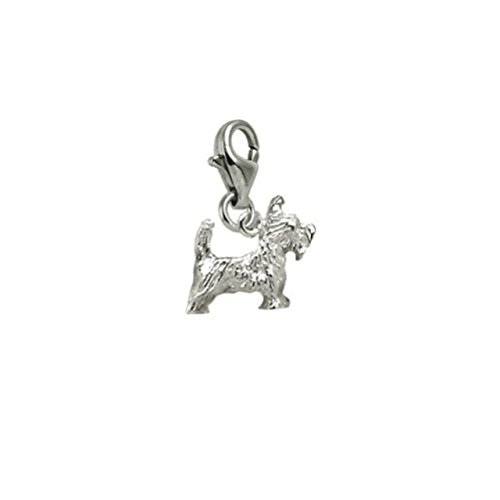 (Sterling Silver Scottie Dog Charm With Lobster Claw Clasp, Charms for Bracelets and Necklaces)