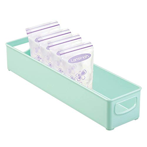 mDesign Plastic Storage Organizer Bin for Kitchen Cabinet, Pantry, Refrigerator, Countertop - BPA Free - Breast Milk, Bottles, Sippy Cups, Kids/Toddlers Food Pouches, Baby Food Jars - Mint Green