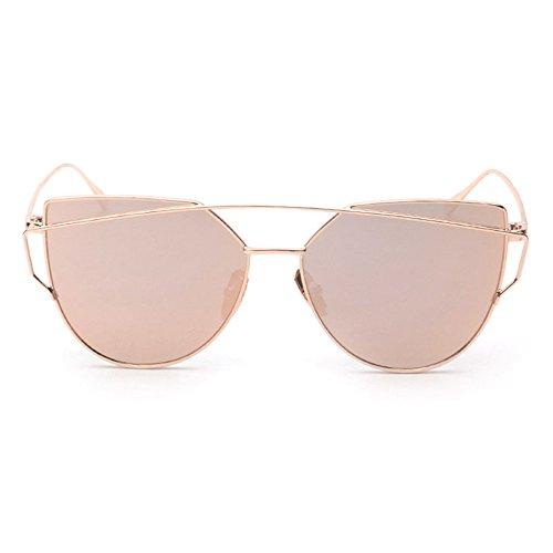 Cat Eye Mirrored Flat Lenses Street Fashion Metal Frame Women Sunglasses Twin-Beams (Rose - Sunglasses Plus Size