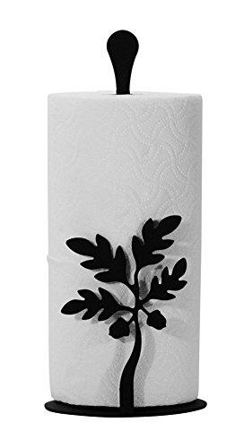 Iron Counter Top Acorn Paper Towel Holder - Black Metal