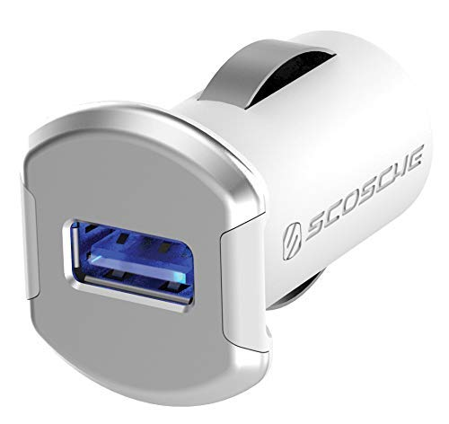 SCOSCHE Revolt Compact Single Port USB Fast Car Charger with Illuminated LED Backlight - 12 Watts/2.4 Amps Total Output - High Speed Universal Device Mobile Charger - White/Silver (USBC121MSR) ()