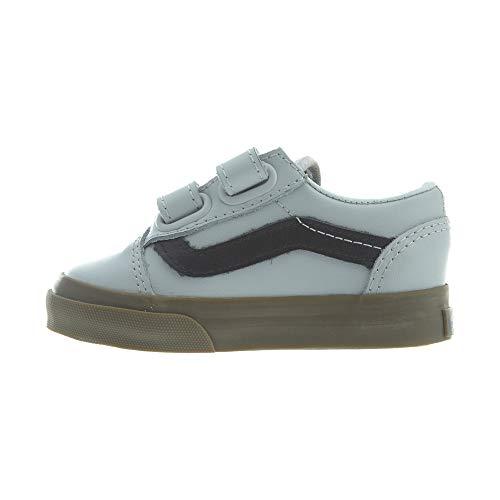 Vans Toddlers Old Skool V (Bleacher) Gray/Black/Gum Skate Shoe 7.5 Infants US]()