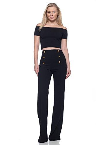 Women's J2 Love High Waist Sailor Bell Bottom Flare Pants, Medium, Black by Cemi Ceri (Image #1)