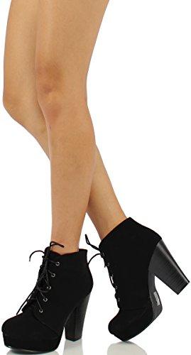 Booties Platform AGENDA Dress Black Lace Heel H Chunky Up SODA Women's High Ankle 8RPwZx8Tq1