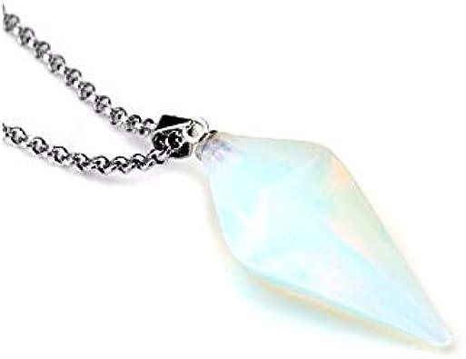 Collar con colgante de ópalo blanca Natural estilo péndulo. Amor, Sensualidad, Intuición.
