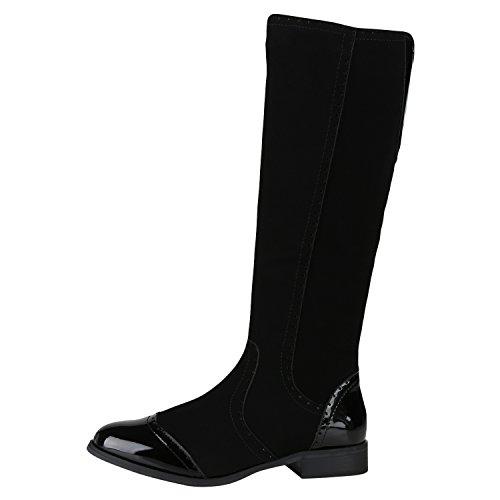 napoli-fashion Klassische Damen Stiefel Schnallen Leder-Optik Booties Jennika Schwarz All