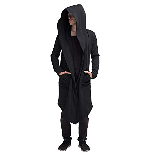 PASATO Men's Autumn Winter Casual Hooded Pocket Trench Long Sleeve Outwear Coat Tops Fashion Cloak Clearance Hot Sale(Black,L=US:M)