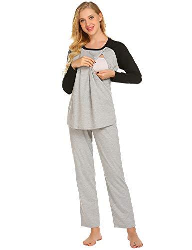 Ekouaer Women's Maternity Pajamas Set Long Raglan Sleeve Baseball Nursing Nightgown for Breastfeeding Sleepwear, 9793 light Gray, Small