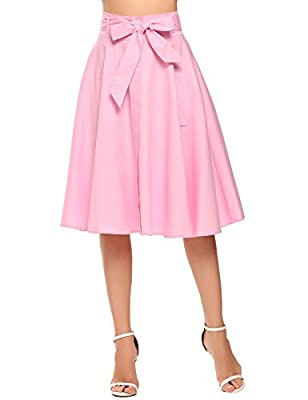 Chigant A Line Vintage Skirt Pleated High Waist Midi Skirts with Pocket and Button for Women