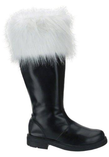 Heren Zwarte Kostuumlaars Met Witte Namaakbont Kerstman Kerst Kleine 8