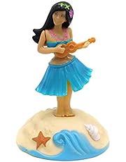 successfun 2PCS Solar Powered Toy Hawaiian Dancing Figurine Home Car Dashboard Window Ornament Desk Decoration Kids Toy Blue